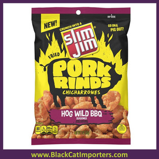 Slim Jim Pork Rind Hog Wild BBQ  2.0oz 12ct