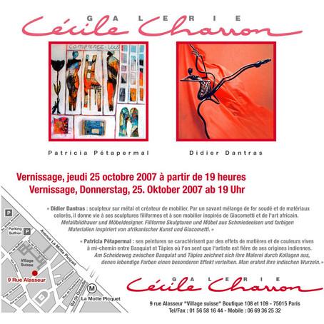 Inauguration de la Galerie Charron avec Patricia Pétapermal (peintre) et Didier Dantras (sculpteur)