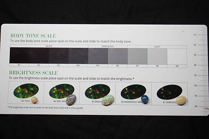 opals being measured on the brightness scale