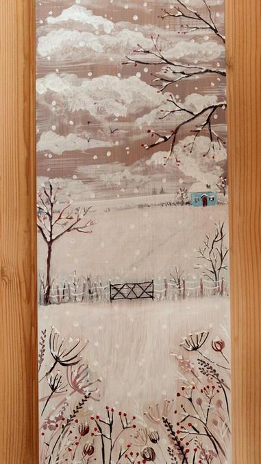 Paesaggio invernale. Casetta e stacciona
