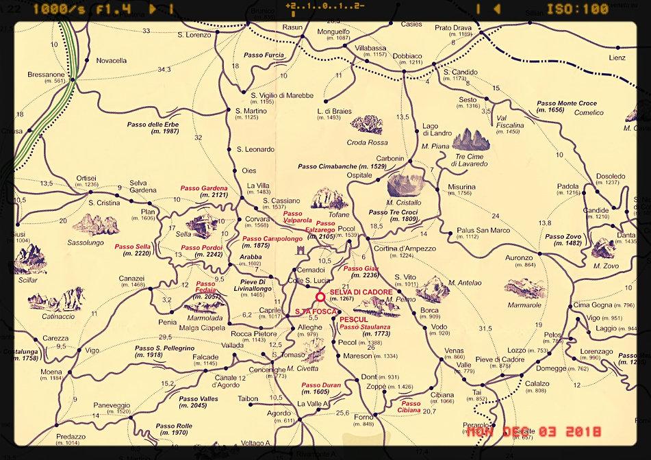 Selva di Cadore cartina geografica Hotel Ca' del Bosco