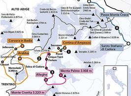 Grande Carosello delle Dolomiti. Collegamento Ski Civetta - Cortina d'Ampezzo - Arabba