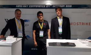Celestino Geijo, WIRD, Shari Daneshjoo, CrowdStrike, and Alexandre Molari, WIRD, at the common booth at the Zero-Day Conference
