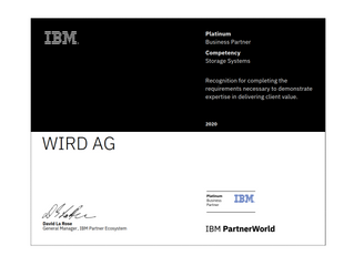 WIRD officially certified by IBM as Storage Expert