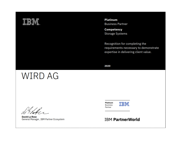 With this certification, WIRD has risen to the highest level of competence for business partners in the area of IBM Storage Solutions.