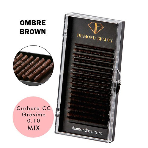EXTENSII DE GENE OMBRE BROWN - 16 LINII CURBURA CC GROSIME 0.10 MIX