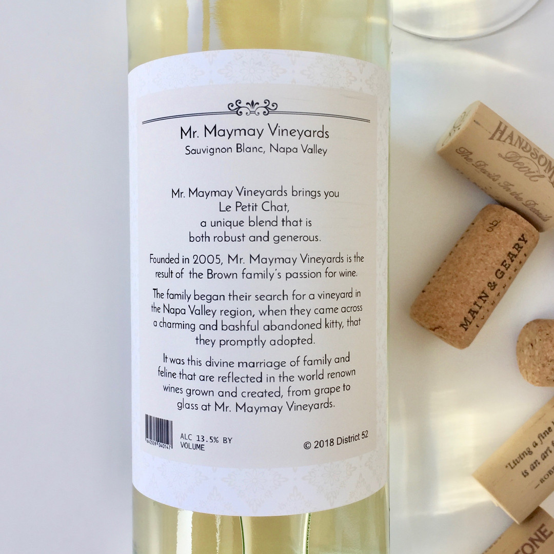 MayMay Pet Wine Label