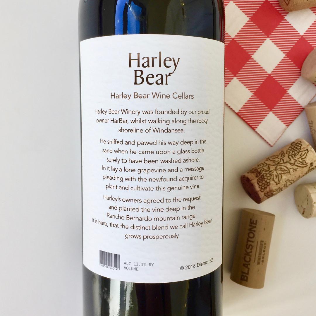 Harley Bear Pet Wine Label