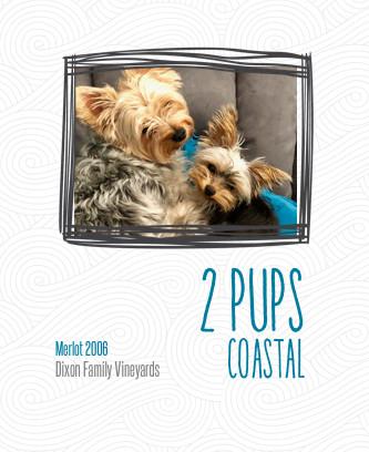 2 pups custom pet wine label art front.j