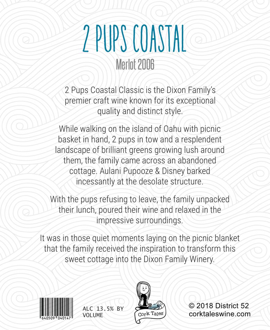 2 pups coastal custom pet wine label art