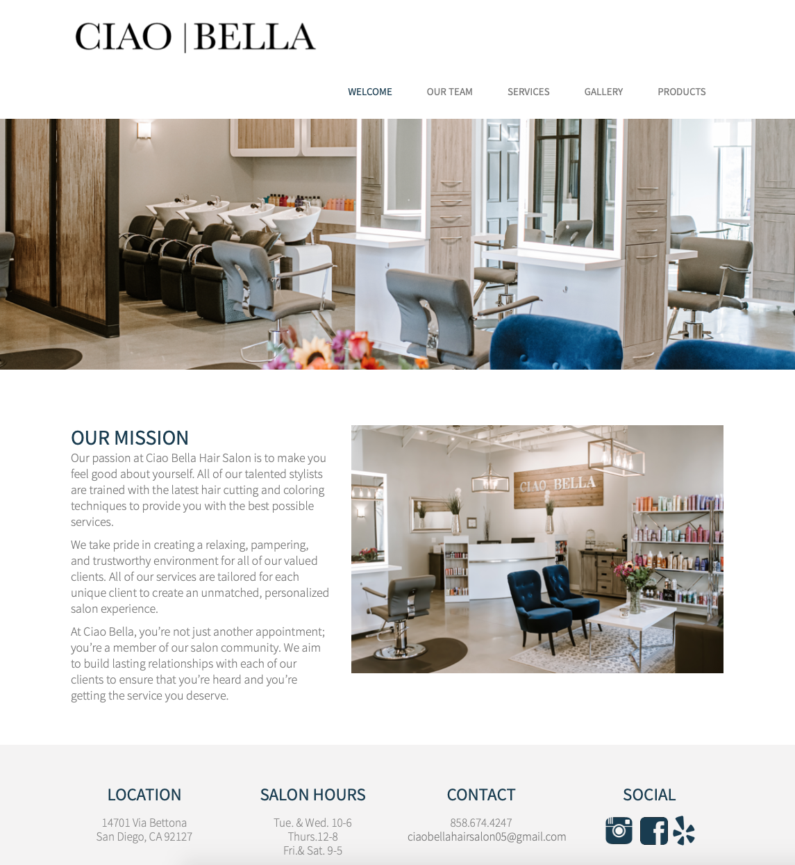Ciao Bella Salon Website