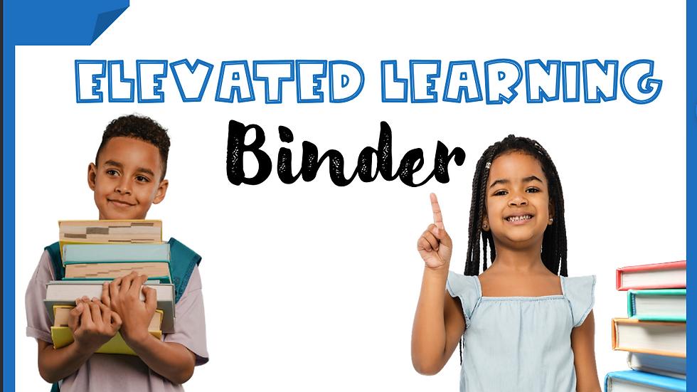 Kindergarten Elevated Learning Binder
