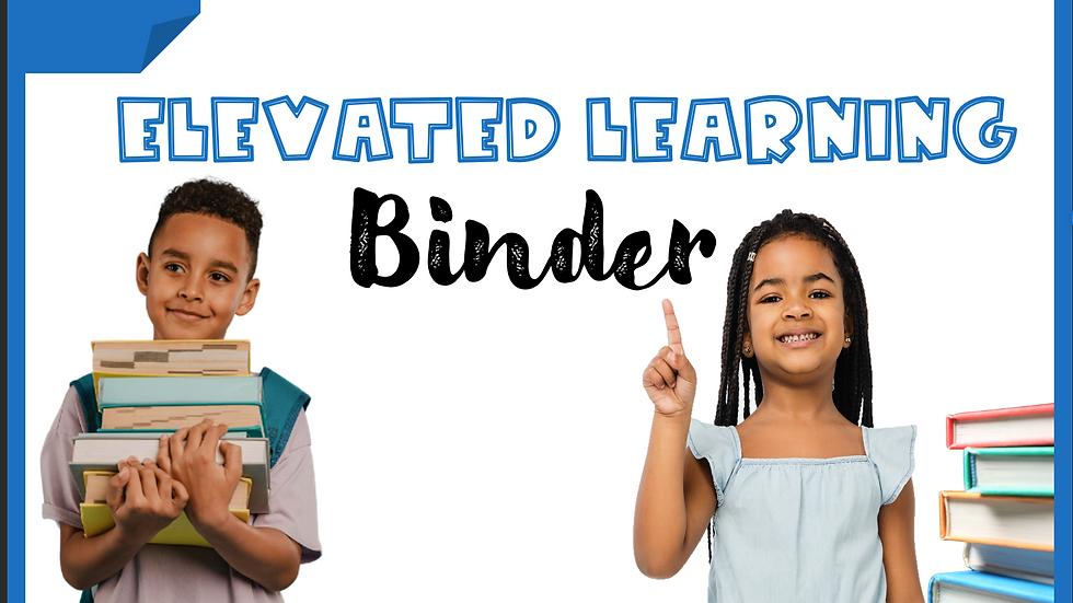 Pre-K Elevated Learning Binder