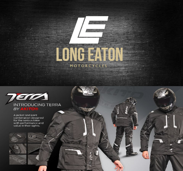 Logo from Long Eaton Motorcycles and Akito Terra waterproof textile clothing for sale and on offer