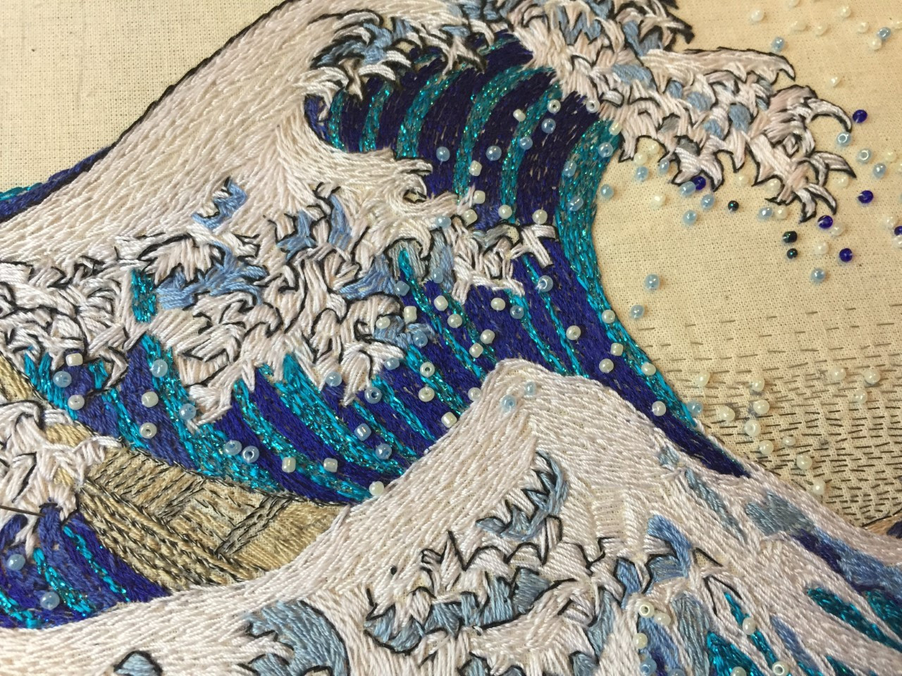 La gran ola, mi interpretación en hilo de Hokusai