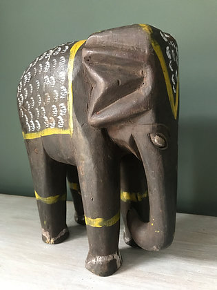 SMALL CARVED PAINTED INDIAN ELEPHANT