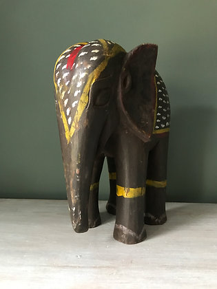 LARGE CARVED PAINTED INDIAN ELEPHANT