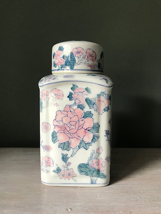 PINK & GREEN SQUARE GINGER JAR