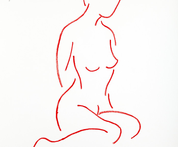 SEATED NUDE RED VELVET