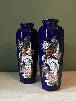 IMPERIAL OF JAPAN PAIR OF BLUE VASES