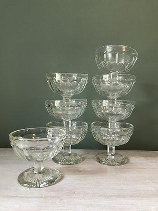 Set of 8 GLASS ICE CREAM DESSERT BOWLS