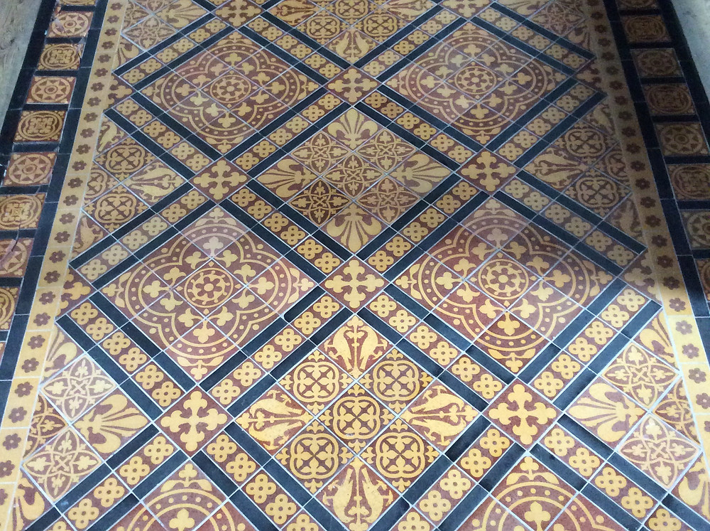 Neo-medieval, Gothic Revival tile floor by William Godwin & Sons, All Saints Church, Hereford