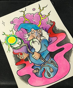 custom art, custom artwork, wizard, magic, magical, tattoo design