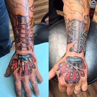 freehand tattoo, tattoo, color tattoo, skin rip tattoo, bio mec tattoo, bio mechanics tattoo, gregg allan, tattoo gallery ocala, ocala tattoo shop