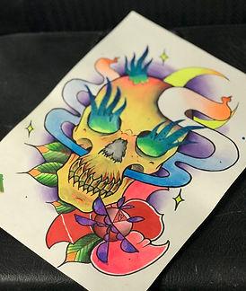 custom art, custom artwork, custom design, tatoo design, tropistyle art, tropistyle, skull, magic, rose,