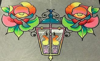 custom artwork, custom art, custom design, tattoo design, lantern, candle, roses, raiinbow