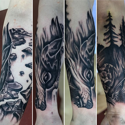 black and grey, black and grey tattoo, wolf tattoo, forest tattoo, river tattoo, black and grey wolf tattoo, black and grey forest tattoo, gregg allan, tattoo gallery, tattoo gallery ocala