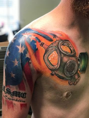 tattoo, color tattoo, military tattoo, gas mask tattoo, usmc tattoo, marines tattoo, american flag tattoo, gregg allan, tattoo gallery ocala, ocala tattoo shop