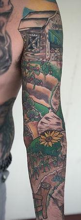 farmer tattoo sleeve, farmer tattoo, farm tattoo, hay bales, farmers market tattoo, scarecrow tattoo, gregg allan, tattoo gallery ocala, ocala tattoo, summerfield tattoo, belleview tattoo, gainesville tattoo, villages tattoo, best tattoo, best ocala tattoo