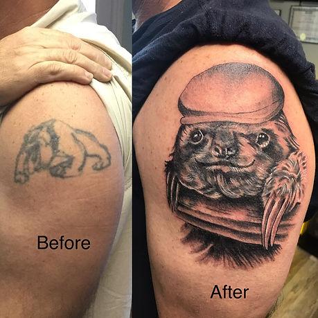 cover up tattoo, sloth tattoo, black and grey, black and grey sloth, ocala tattoo, gregg allan, tattoo gallery ocala, ocala,