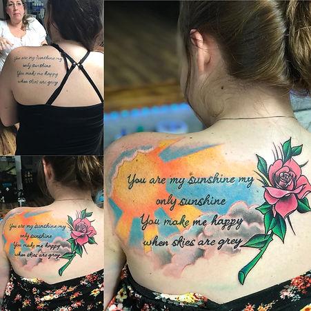 you are my sunshine, you are my sunshine tattoo, cover up tattoo, cover up, sun tattoo, rose tattoo, gregg allan, tattoo gallery, tattoo gallery ocala, ocala tattoo