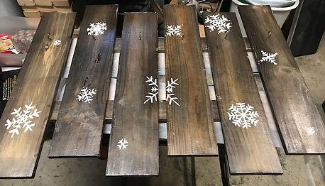 handmade stocking holder, snowflakes, custom art, stocking holder
