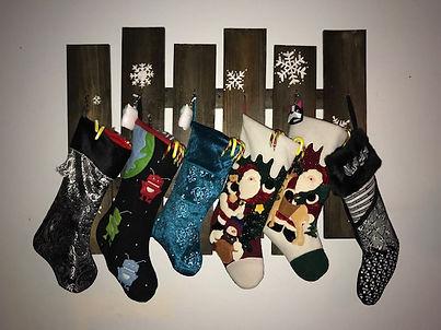 handmade stocking holder, custom art, snowflakes