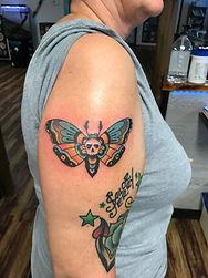 death moth tattoo, neo traditional tattoo, traditional tattoo, gregg allan, tattoo gallery ocala, ocala tattoo, best tattoo, best ocala tattoo