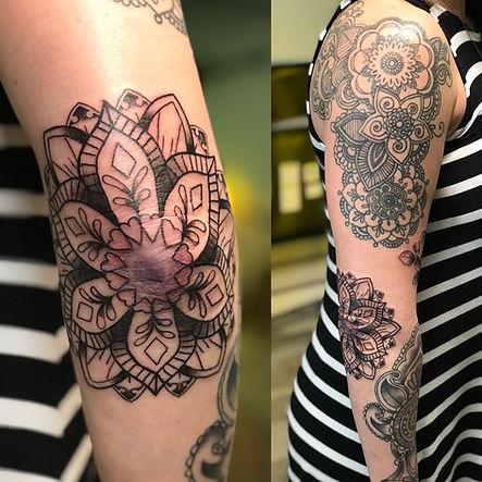 mandala, mandala tattoo, elbow mandala, black work, gregg allan, tattoo gallery, tattoo gallery ocala, ocala tattoo, best ocala tattoo, pretty tattoo,