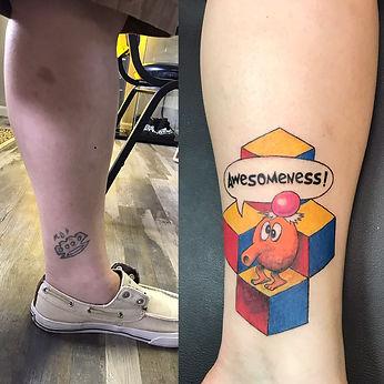 cover up tattoo, qbert tattoo, qbert, color tattoo, color cover up tattoo, gregg allan, tattoo gallery ocala, ocala tattoo,