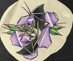 custom art, cusom artwork, bat, rose, bat rose, tattoo design