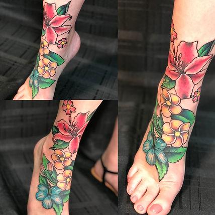 flower tattoo, foot tattoo, freehand tattoo, plumeria tattoo, hibiscus tattoo, tropical tattoo, gregg allan, tattoo gallery, tattoo gallery ocala, ocala tattoo, best ocala tattoo, best tattoo