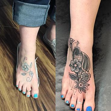 foot tattoo, foot cover up tattoo, flower tattoo, gregg allan, tattoo gallery, tattoo gallery ocala, ocala tattoo