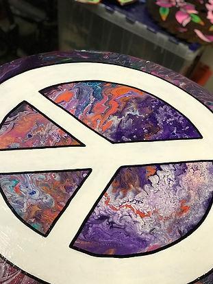 handmade wod cut out, dirty pour, peace sign, cusom artwork