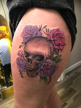 scar cover up tattoo, skull tattoo, chrysanthemum tattoo, rose tattoo, color tattoo, hip tattoo, gregg allan, tattoo gallery ocala, ocala tattoo,