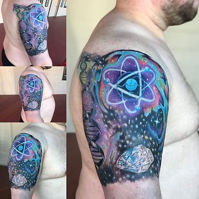 tattoo sleeve, science tattoo, galaxy tattoo, cosmic tattoo, neuron tattoo, atom tattoo, gregg allan, tattoo gallery ocala, ocala tattoo, summerfield tattoo, belleview tattoo, gainesville tattoo, villages tattoo, best tattoo, best ocala tattoo