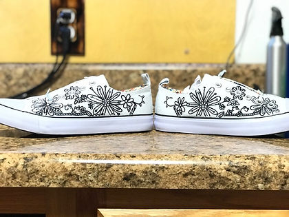 Hand painted canvas shoes, hand painted floral shoes, custom artwork, custom shoes