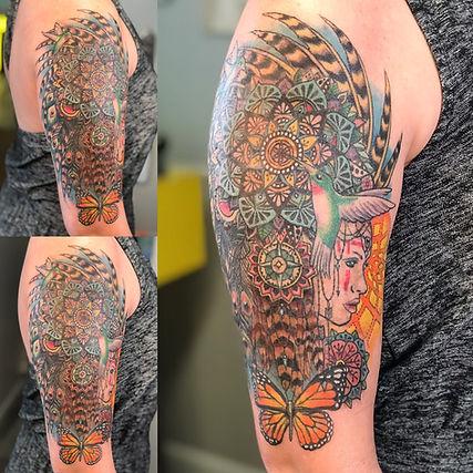 butterfly tattoo, hummingbird tattoo, mandala tattoo, headress tattoo, feather tattoo, half sleeve tattoo, gregg allan, colorful tattoo, tattoo gallery, tattoo gallery ocala, ocala tattoo, best ocala tattoo, best tattoo, best tattoo shop