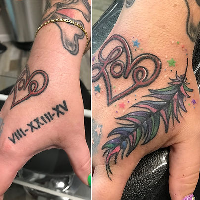 cover up tattoo, cover up, feather tattoo, hand tattoo, gregg allan, tattoo gallery, tattoo gallery ocala, ocala tattoo, best ocala tattoo,