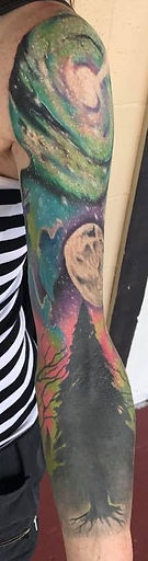 forest tatto sleeve, galaxy tattoo sleeve, cosmic tattoo sleeve, tattoo sleeve, gregg allan, tattoo gallery ocala, ocala tatto, summerfield tattoo, belleview tattoo, gainesville tattoo, villages tattoo, best tattoo, beautiful tattoo, best tattoo ocala